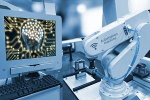 Industry_4.0_,_Machine_learning_and_artificial_intelligence_concept._Computer_display_illustrative_screen_and_blue_tone_of_automate_wireless_Robot_arm_in_smart_factory_background