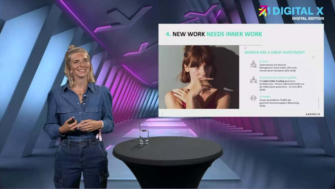 Lea-Sophie Cramer, die Gründerin von Amorelie, teilte ihre Erfahrungen als weibliche Gründerin.