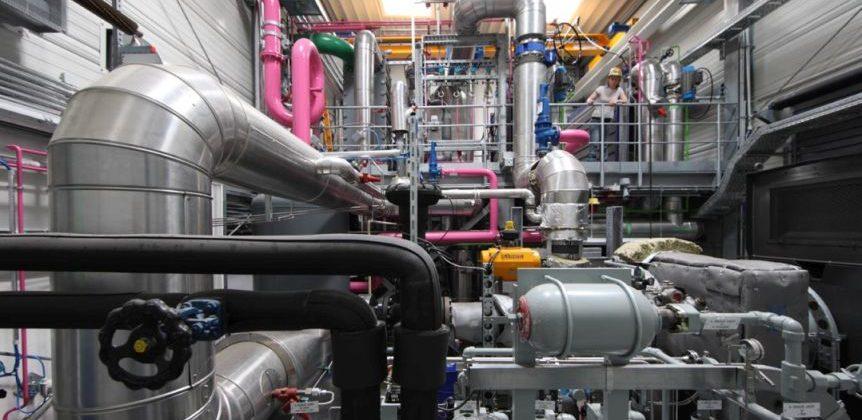 Geothermie Kraftwerk der ENBW in Bruchsal.