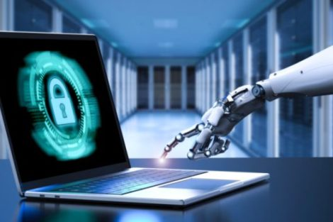 Laptop mit Roboterhand