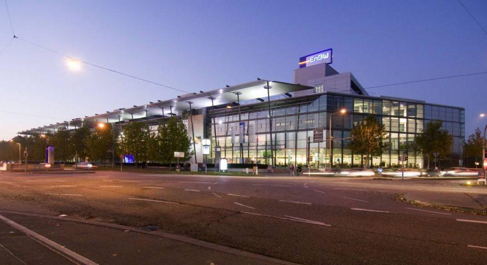EnBW-Zentrale in Karlsruhe bei Nacht