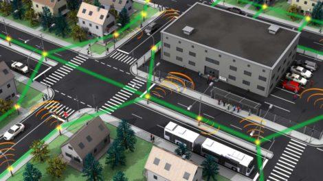 Mobilfunknetz der Zukunft: Kleine Funkzellen (orange) sind über drahtlose Terahertz-Verbindungen (grün) miteinander verknüpft. Bild IPQ, KIT/Nature Photonics