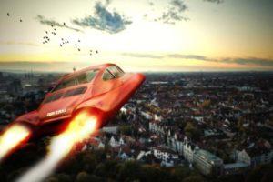Flugtaxi über einer Stadt. Eine Bitkom-Umfrage zeigt, dass autonome People Mover von der Bevölkerung gewünscht werden. Bild: Mediaparts/Adobe Stock