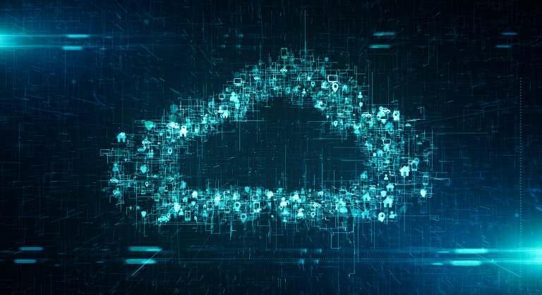 Eine stilisierte Cloud aus Daten. Veit Brücker von Snowflake legt im Gastbeitrag die Vorteile der Cloud für die datengetriebene Produktion dar.