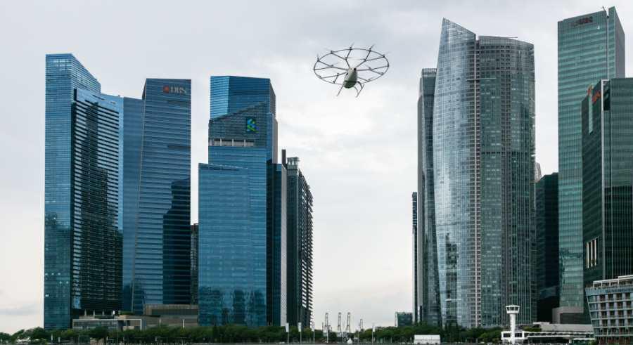 Volocopter Testflug Singapur Marina Bay