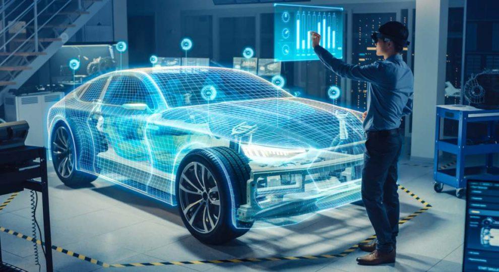 VR in der Automobilindustrie. Person arbeitet an Modell mit VR-Brille. Bild: Gorodenkoff/Adobe Stock