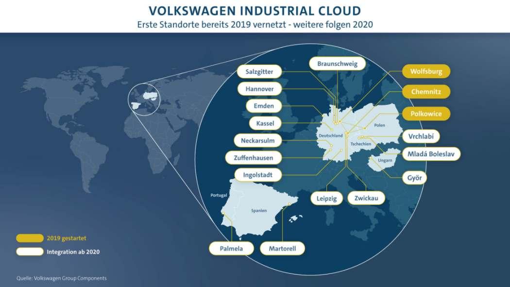 Der Volkswagen-Konzern treibt den Ausbau der Industrial Cloud voran.