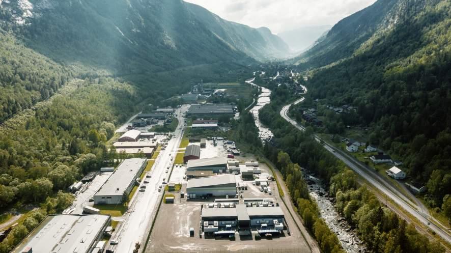 Luftaufnahme des Rechenzentrums von VW in Rjukan