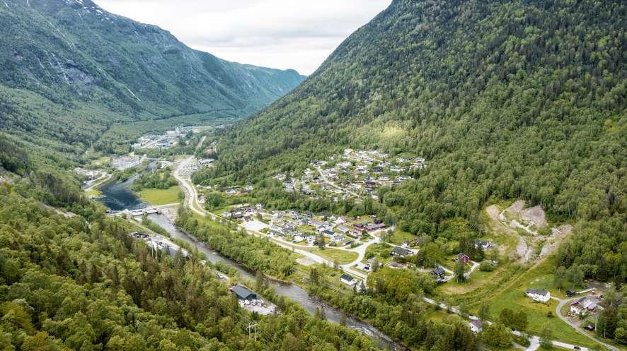 Blick auf Rjukan aus der Luft